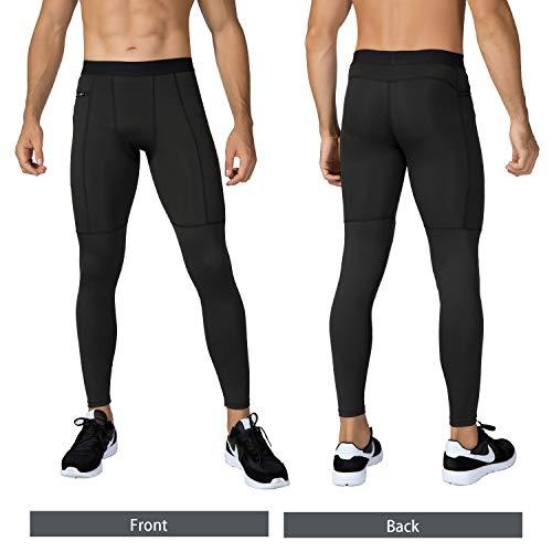 Niksa Mallas Hombre Fitness Leggings Deporte Pantalón Largo de Compresión Negro Gris Negro Gris Large