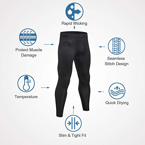 Niksa Mallas Hombre Running Leggings Deporte Pantalones Largos de Compresión Negro Gris Small