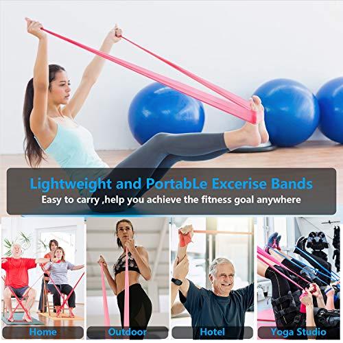 Niluoya Bandas Elásticas Fitness, 4-Pack 1.5M+2M Cintas Banda Resistencia con 2 Niveles Piezas Bandas de Resistencia para Yoga, Pilates, Crossfit, Estiramientos, Musculacion, Piernas, Brazos Fuerza