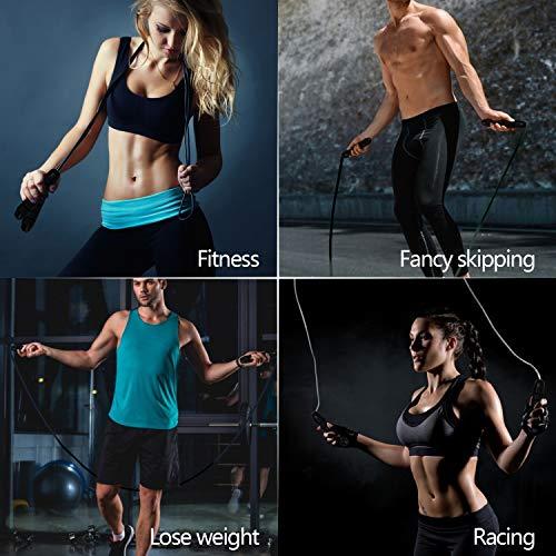 Niluoya Cuerda Saltar, Ajustable de 3M Profesión Cuerda de Salto de Velocidad, con Mango de Espuma de Suave Combas para Mujer Hombre Gym Fitness Ejercicio Crossfit Quema Grasa Aumentar la Resistencia