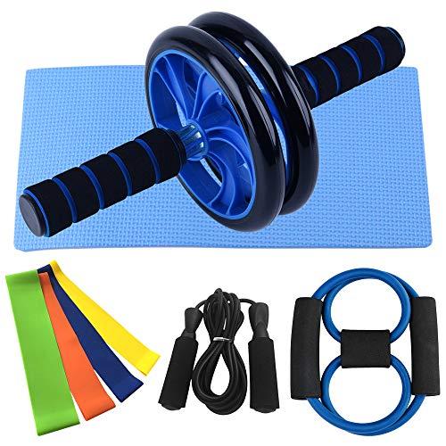 Nishore Rueda Abdominales Fitness, AB Roller Wheel Abdominal, con Banda de Resistencia de 8 Formas Banda de Lazo Kit de Paquete de Cuerda de Salto, Gimnasio en Casa Conjunto de Ejercicios