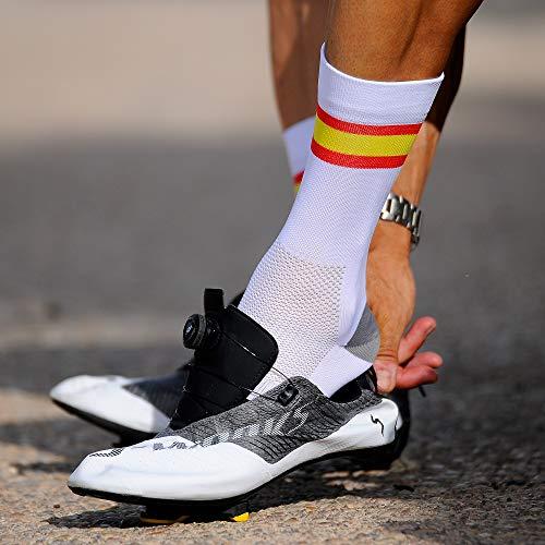 NORTEI - Calcetines Bandera España para Ciclismo, MTB y Running de Meryl para Hombre y Mujer – Spain – (M(42-42), Blanco)