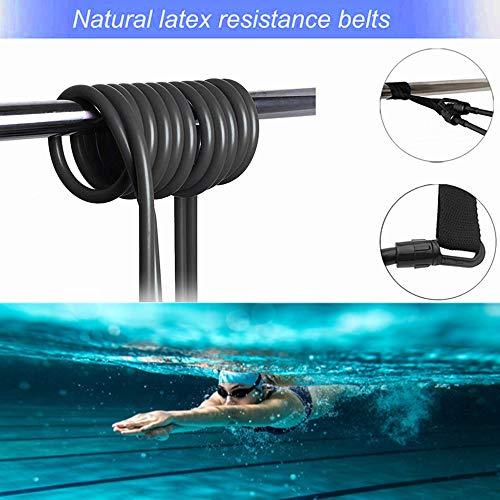 Nova imboxs Nadador Estático,Cinturón de natación Ajustable para Piscinas de natación, Goma elástica natación con un Gorro de natación Gratis (Negro)