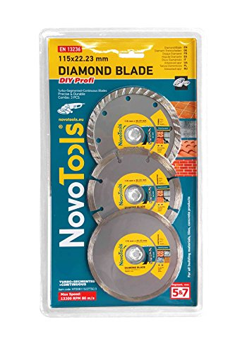 NOVOTOOLS - Disco de diamante para hormigón, piedra, ladrillo, dinteles, granito, piedra natural, 115 mm, 230 mm, 300 mm, 115 mm (Set 3 pcs), 1
