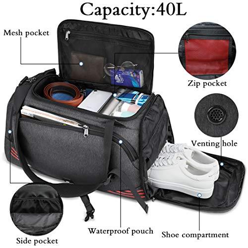 NUBILY Bolsa Deporte Hombre Bolsas Gimnasio Mujer Bolso Fin de Semana Viaje con Compartimento para Zapatos Gym Bag Impermeable Grande 40L Negro