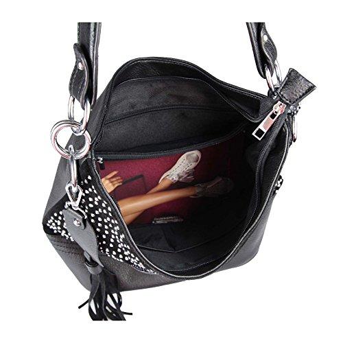 OBC Mujer CALAVERA CRÁNEOS DE LA BOLSA Diamantes de imitación & Sonnenbirlle Brillo Bolos Bolso De Compras XL Bolso tipo saco Bolso bandolera - Negro 34x29x18 cm, CA 34x29x18 cm (BxHxT )