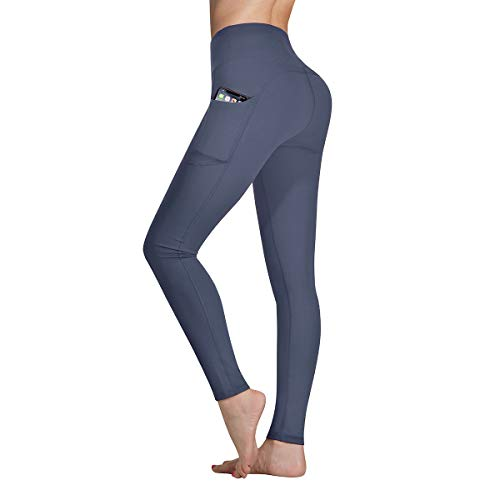 Occffy Cintura Alta Pantalón Deportivo de Mujer Leggings para Running Training Fitness Estiramiento Yoga y Pilates DS166 (Gris profundo, XS)