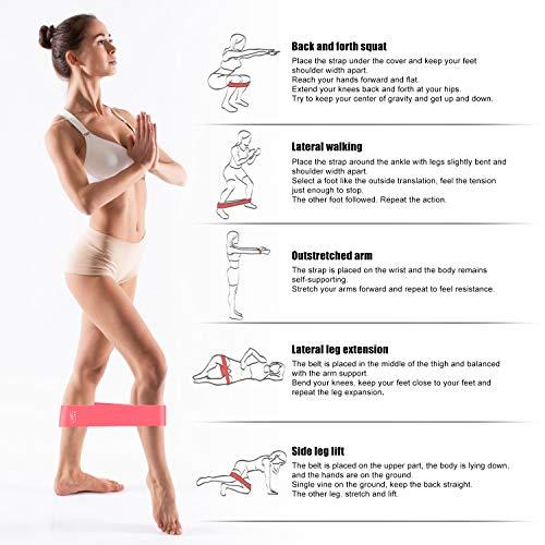 OCDAY Bandas Elasticas, Gomas Elasticas Fitness para Ejercicio en Abdomen Brazos Piernas Glúteos, 5 Cintas Elasticas Musculacion para Yoga, Fuerza, Fisioterapia, Crossfit, Pilates, Estiramientos