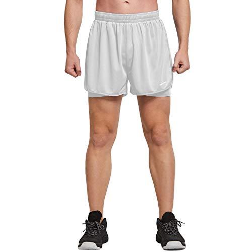 Ogeenier Pantalones Cortos Deporte Hombre, Pantalones Cortos Running 2 en 1 con Bolsillos