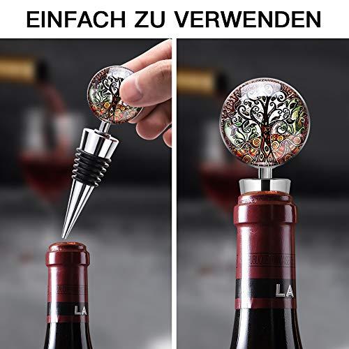 Ohok - Tapón para botellas de vino con cristal, 3 unidades de topes reutilizables de acero inoxidable para regalos, bar, fiesta de vacaciones, bodas (Singular Tree)