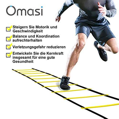 Omasi Velocidad Escalera de Entrenamiento Coordinación Agilidad, Escalera de velocidad escalera de coordinación,6M 12 Escalones Peldaños 4 clavijas Escalera de velocidad para fútbol, fitness, deportes