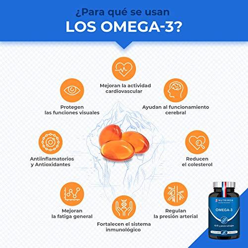 Omega 3 Aceite de Pescado Krill 1000 mg 4 Veces Potente DHA EPA Acidos Grasos Omega3 Capsulas Antioxidante Corazón Reduce Colesterol Azucar en Sangre Fish Oil Complemento Alimenticio Premium