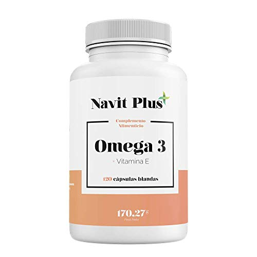 Omega 3 Ácidos grasos + Vitamina E. Aceite de pescado salvaje. Alta dosis de EPA 700 mg y DHA 500 mg/ Dosis diaria | Fabricado en España |Complemento alimenticio a base de aceite de pescado puro.