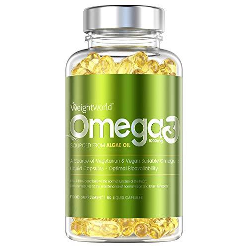 Omega 3 Vegano Aceite de Algas Marinas 1000 mg - 550mg de EPA y DHA, Suplemento Para Salud de Cerebro, Hígado y Corazón, Controla Colesterol, Mejora Presión Arterial, Con Vitamina E 60 Cápsulas