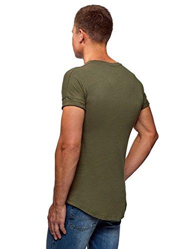 oodji Ultra Hombre Camiseta de Algodón con Espalda Alargada, Verde, ES 52-54 / L