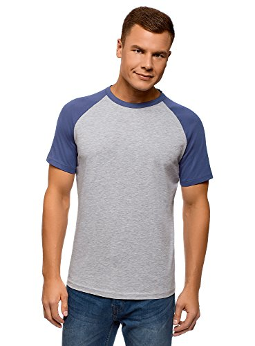 oodji Ultra Hombre Camiseta de Algodón con Mangas Raglán en Contraste, Gris, S