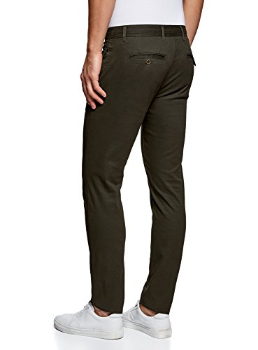 oodji Ultra Hombre Pantalones Chinos de Algodón, Verde, 40