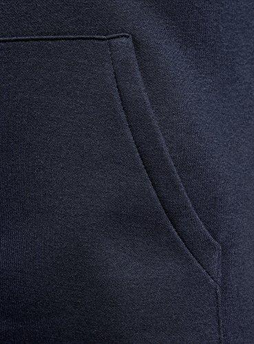 oodji Ultra Hombre Sudadera Básica con Capucha y Bolsillo, Azul, ES 50 / M