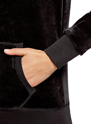 oodji Ultra Mujer Sudadera Básica con Bolsillo, Negro, ES 36 / XS