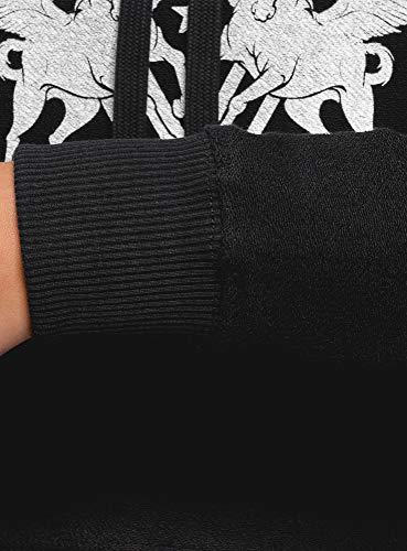 oodji Ultra Mujer Sudadera de Tejido Texturizado con Capucha y Estampado, Negro, ES 42 / L