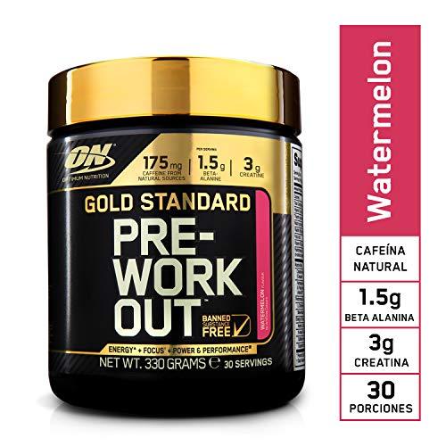 Optimum Nutrition Gold Standard Pre Workout en Polvo, Bebida Energética con Creatina Monohidratada, Beta Alanina, Cafeína y Vitamina B Complex, Sandía, 30 Porciones, 330g, Embalaje Puede Variar