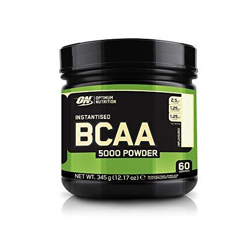 Optimum Nutrition ON BCAA 5000 en Polvo, Suplementos Deportivos, Rico en Aminoacidos Ramificados y Esenciales, sin Azúcar, sin sabor, 60 porciones, 345 g