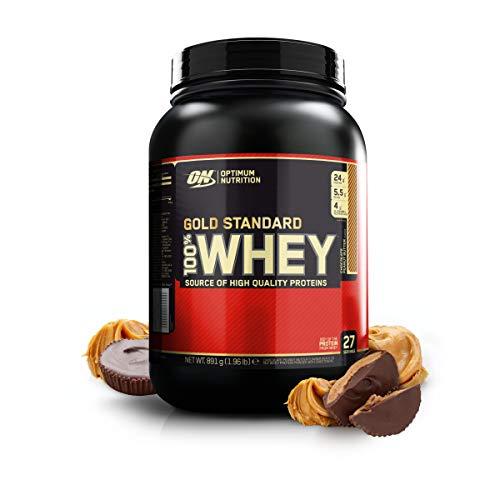 Optimum Nutrition ON Gold Standard 100% Whey Proteína en Polvo Suplementos Deportivos, Glutamina y Aminoacidos, BCAA, Chocolate Mantequilla de Cacahuete, 27 porciones, 891 g, Embalaje puede variar