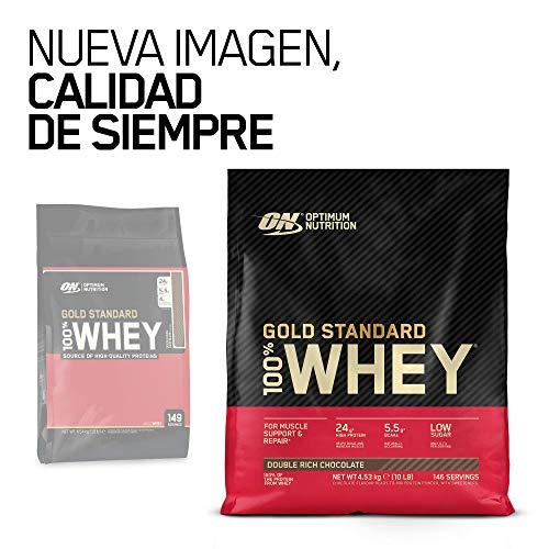 Optimum Nutrition ON Gold Standard 100% Whey Proteína en Polvo Suplementos Deportivos, Glutamina y Aminoacidos, BCAA, Double Rich Chocolate, 146 Porciones, 4.54kg, Embalaje Puede Variar