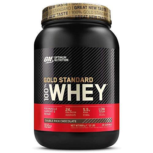 Optimum Nutrition ON Gold Standard 100% Whey Proteína en Polvo Suplementos Deportivos, Glutamina y Aminoacidos, BCAA, Double Rich Chocolate, 29 Porciones, 900 g, Embalaje Puede Variar