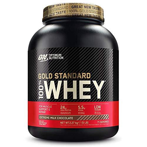Optimum Nutrition ON Gold Standard 100% Whey Proteína en Polvo Suplementos Deportivos, Glutamina y Aminoacidos, BCAA, Extremo Chocolate, Leche, 71 Porciones, 2.27kg, Embalaje Puede Variar