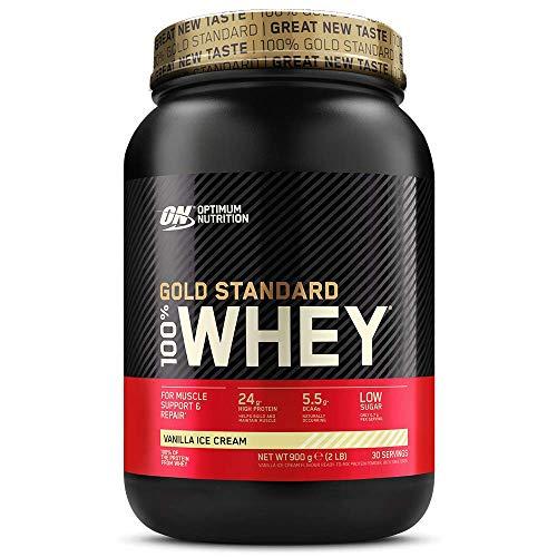 Optimum Nutrition ON Gold Standard 100% Whey Proteína en Polvo Suplementos Deportivos, Glutamina y Aminoácidos, BCAA, Helado de Vainilla, 30 Porciones, 900 g, Embalaje Puede Variar