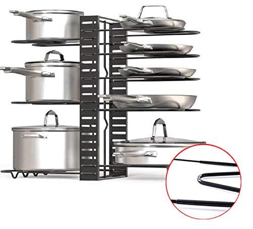 Organizador de Sartenes y Ollas con Estantes Ajustables Diseño 2020 Mejorado, Soporte con Protecciones de Silicona para Utensilios de Cocina. (con Silicona)
