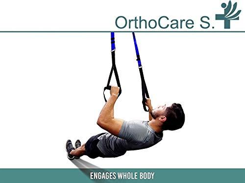 Ortho Care S Fitness - Entrenamiento en Suspension/Funcional con Cuerdas. Kit Multifuncion Gimnasia - Fortalecimiento, Resistencia y Tonificacion Muscular. con Anclaje para Puerta.…