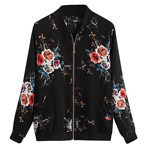OverDose mujer Overdose eñOras De Las Retro Floral O-Cuello Zipper Up Bomber Mejor Venden Chaqueta Casual Outwear para Mujer S M-negro