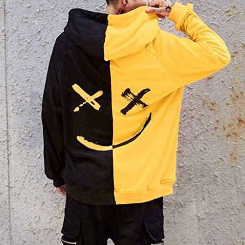 Overdose Sudadera Hombres Patchwork Slim Fit Hoodie OtoñO Moda Outwear Nueva Blusa Adolescente Top 2018 Sudadera (Small, A-Amarillo)