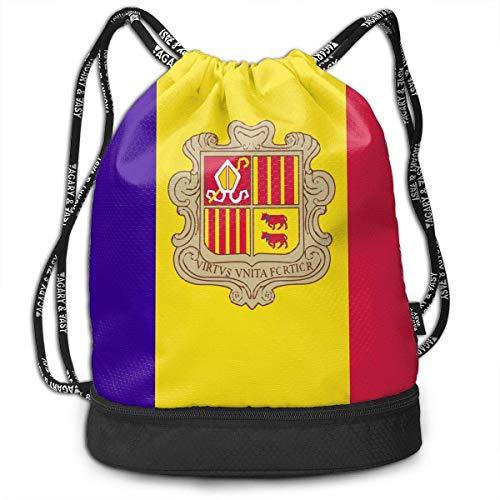 Ovilsm Cord Bag Sackpack Andorra Flag Drawstring Bag Rucksack Shoulder Bags Travel Sport Gym Bag Print - Yoga Runner Daypack Shoe Bags with Zipper and Pockets