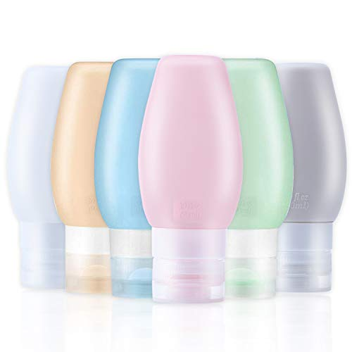 O'woda 6 Piezas Botellas de Viaje Portátiles, 90ml Travel Bottles Set, Libre de BPA, FDA Aprobado, Anti-Fugas, Rellenable, para Desinfectante de Manos Champú Crema de Baño Loción [6 Pcs - 3 oz]