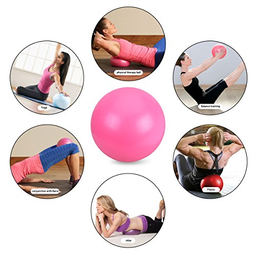 OZUAR Mini Exercise Ball Pilates Ball for Stability Balance Fitness Gym Workout Barre Yoga Core Strength Training Physical Therapy Physical Relaxing Massage with Straw 25cm Pink