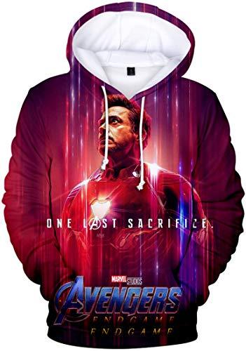 PANOZON Sudadera Hombre Impresión 3D de Vengadores Endgame para Fanes de Película Avengers Superhéroes (M, Iron Man Tony)