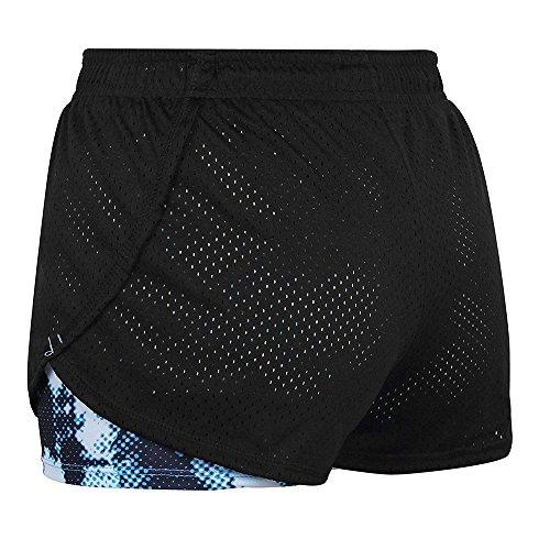 Pantalón Corto de Running Deportivo 2 en 1 para Mujer Pantalón Corto de Malla Transpirable de Secado rápido para Correr Pantalones Cortos de 3 Pulgadas