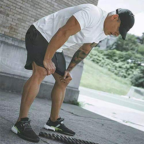 Pantalón Corto para Hombre,Pantalones Cortos Deportivos para Correr 2 en 1 con Compresión Interna y Bolsillo para Hombres (XXL)