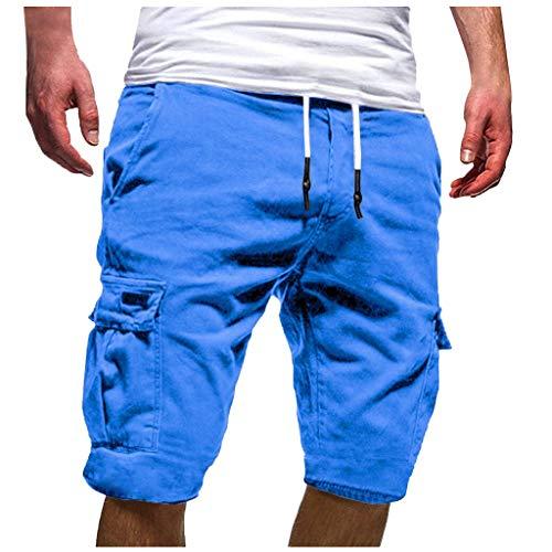 Pantalones Cortos para Hombre Verano Cargo Shorts Chinos Bermuda Deporte Short Pantalón Sweatpant Gym Leisure Elástico Regular Pantalones Algodón ZOELOVE Vendaje Multi-Bolsillo (M, Azul)