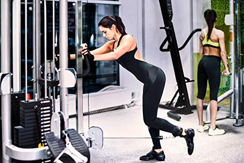 Par de tobilleras deportivas para cable máquinas + guía de entrenamiento - 2 correas de tobillo acolchadas de velcro con ganchos - Entrenamiento de piernas y glúteos en polea – Mujeres, hombres