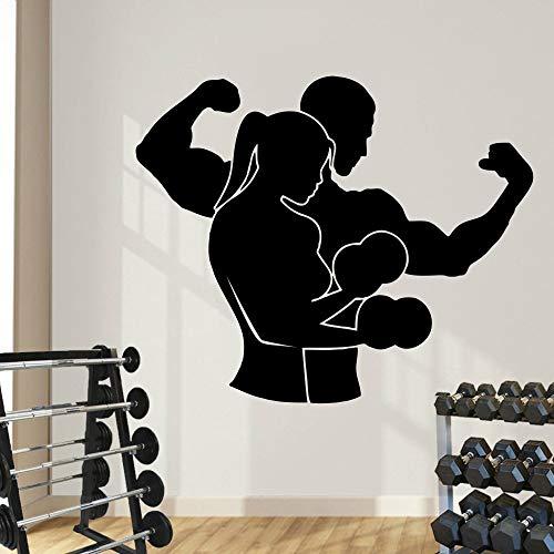 Pared de vinilo removible Calcomanía Gimnasio Fitness Deporte Deporte Etiqueta de La Pared Culturismo Home Decor Art Living Room Decor 42 * 50 CM