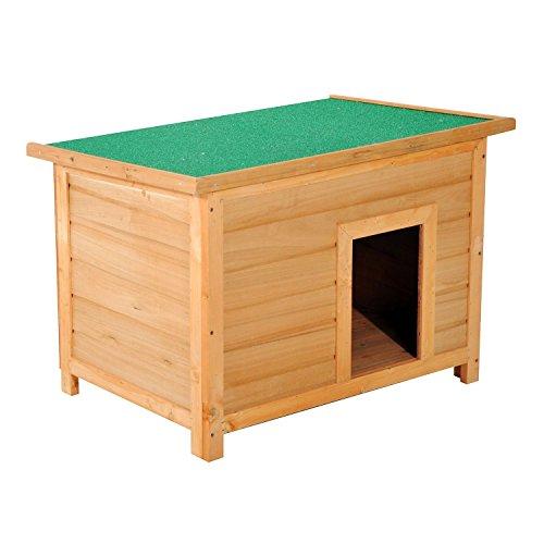 PawHut Caseta para Perro 85 x 58 x 58cm Madera Impermeable con Tejado Verde Abatible y 4 Pies Antideslizantes