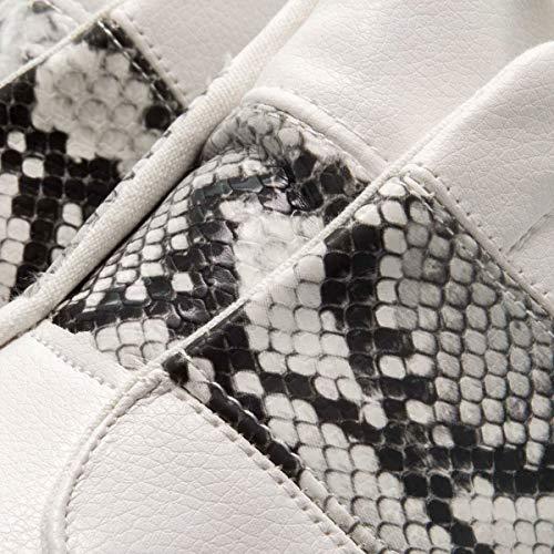 PAYMA - Zapatillas Bambas Deportivas Plataforma Mujer. Tenis Deporte, Casual y Caminar. Cierre Elastico y Velcro. Blancas y Animal Print