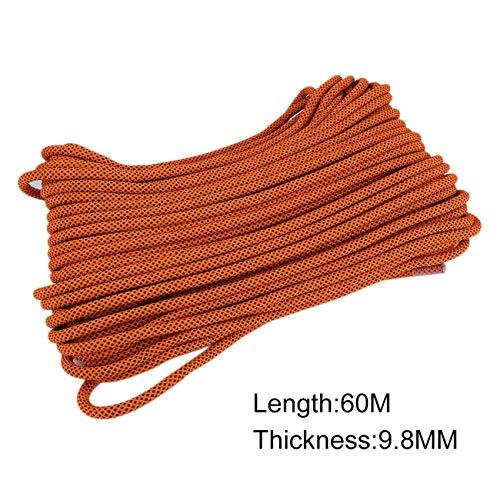 Peanutaso Cable de Alta Resistencia 9.8MM 60M Longitud Cuerda de Seguridad 15KN Cuerda de Escalada Profesional Accesorios de Senderismo al Aire Libre