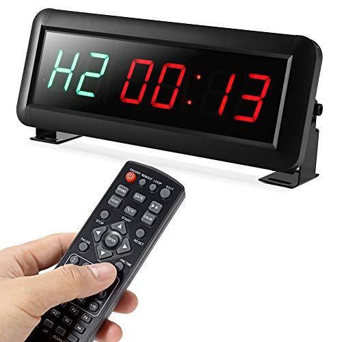 PELLOR Temporizador con Pantalla LED, Reloj de Pared 6Dígitos LED Temporizador de Intervalos, Reloj en Tiempo Real de 12/24 Horas, Gym Temporizador con Control Remoto (Volumen Ajustable)