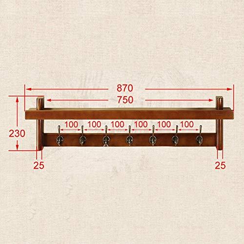 Perchero de montaje en pared Percheros de pared Soporte de pared Estante para ropa Estante retro Soporte de pared Estante de madera maciza Estante de almacenamiento multifunción soporte de exhibición