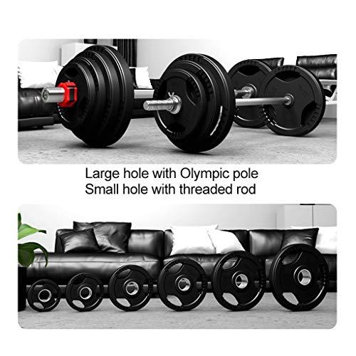 Pesas de Disco Discos de Pesas para Musculación Placas de caucho revestido Olímpicos Tri-Grip Barbell Pesos Placas for el entrenamiento de fuerza, pesas y Crossfit Discos de Pesas Fitness y Ejercicio
